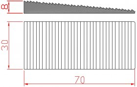 Montažiniai pleištai EDELMAX 1632:E, 70 x 30 x 8 mm, dantukai iš vienos pusės, pleištai 90 laipsnių kampu, 50 vnt.