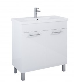 Vonios spintelė ELITA CHEESE PLUS 80, 98,5 x 81 x 39,5 cm, apatinės, pastatoma, su praustuvu, 2 durelės, balta