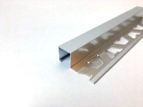 Kampas plytelėms ARCANSAS 041/S/93, 2500 x 27 x 10 mm, aliuminis anoduotas, išorinis, kvadratinis, sidabro spalvos, chromas
