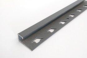 Kampas plytelėms ARCANSAS 041/105, 2500 x 10 mm, aliuminis, išorinis, kvadratinis, akmens imitacija, antracito spalvos
