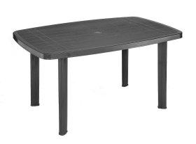 Plastikinis stalas FARO ovalus, antracito spalvos 137x85x72cm, maks. apkrova iki 60kg