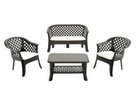 Plastikinis sodo baldų komplektas VERANDA su pagalvėlėmis, rudos spalvos, maks. apkrova iki stalas 35kg, stalas 120kg, suolas 120kg per vieną vietą