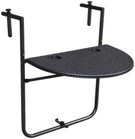 Pakabinamas pusapvalis stalas NOVELLY HOME, išmatavimai: 73*60*4.5 medž. plastikas + plienas,  juodos sp. BY-60J , apkrova iki 15 kg.