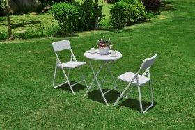 Lauko baldų komplektas NOVELLY HOME, stalas: 60x60x74cm ir 2 kėdės: 52*42.5*81 medž. plastikas + plienas,  baltos sp., RZY-60+YC-042 , apkrova iki stalas 80 kg., kėdė 120 kg.