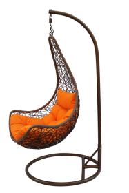 Pakabinamo krėslo su stovu komplektas, 1,15 x 0,85 x 0,70 m., stovas 200 cm., tamsiai rudas, pilkas, apkrova iki 120kg, 200046