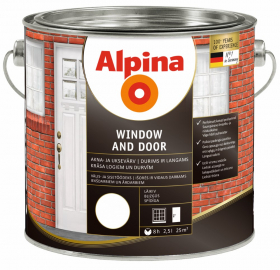 Alkidiniai dažai ALPINA WINDOWS AND DOORS 2,5 l, baltos spalvos, blizgūs, langams ir durims