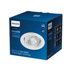 Montuojamas šviestuvas PHILIPS POMERON, įleidžiamas, LED 7 W, 4000 K, dimeriuojamas, 450 lm, IP20, 15000 val., 90 mm skersmens