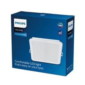 Montuojamas šviestuvas panelė PHILIPS MESON, įleidžiama, LED 13 W, 3000 K, 1200 lm, kvadratinė, baltos sp., 140 x 140 mm