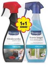 Valiklių rinkinys STARWAX 4238, valiklis vitrokeraminėms ir indukcinėms kaitlentėms STARWAX 500 ml+stiklų valiklis STARWAX 500 ml, dovanų!