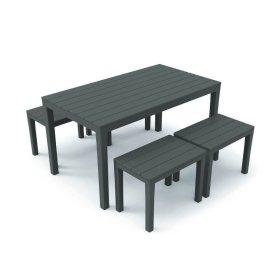 Plastikinis sodo baldų komplektas SAMOA, stalas, 4-ios kėdės, antracito spalva