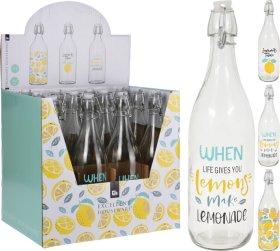 Butelis su kamščiu, 1 l., stiklinis, 3 skirtingi dizainai