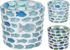Žvakidė su žuvų dizainu, stiklinė, 6 x 6 x 6 cm., 2 skirtingi dizainai
