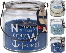 Žvakė stikliniame indelyje su jūriniu atvaizdu, 10,2 x 10 cm., metaline rankenėle, 3 skirtingos sp.