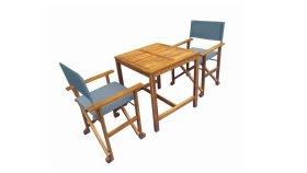 Lauko baldų komplektas VICTORIA M62, stalas, 2 kėdės, akacijos medis/tekstilenas, išmatavimai stalas 70 x 70 x 72 cm., kėdė 54 x 54 x 88 cm., ruda/mėlyna