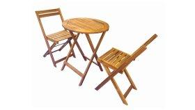 Lauko baldų komplektas BALCONIA M65, stalas, 2 kėdės, akacijos medis, išmatavimai stalas 60 x 60 x 75 cm., kėdė 48,5 x 42,5 x 77 cm., ruda