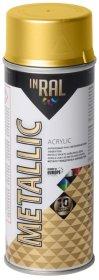 Aerozolinis akrilinis lakas INRAL METALLIC, 400ml auksinės spalvos