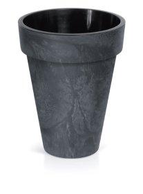 Plastikinis lauko vazonas CUBE SLIM, antracito spalvos, vazono skersmuo 28 cm.