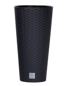 Plastikinis lauko vazonas RATO TUBUS, antracito spalvos, vazono skersmuo 25 cm.