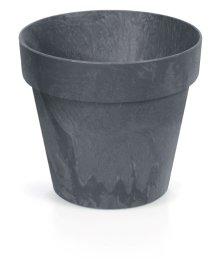 Plastikinis lauko vazonas CUBE CONCRETE, antracito spalvos, vazono skersmuo 20 cm.