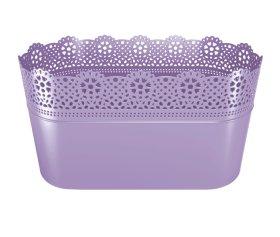 Plastikinis kambarinis vazonas, violetinės spalvos, vazonėlio skersmuo 28,5 cm.