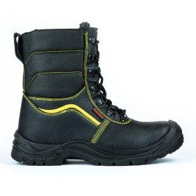 """Juodi odiniai auliukiniai batai """"HERVIN"""" su pašiltinimu, bei pirštų ir pado apsauga, 45 dydis, OB040, S3"""