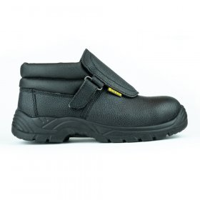 Darbo batai su auliuku HERVIN OBS001, 44 dydis, su pirštų ir pado apsauga, odiniai, pritaikyti suvirinimo darbams