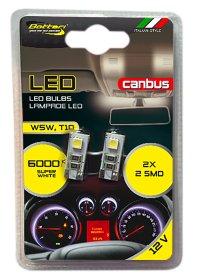 Automobilinių lempučių komplektas BOTTARI 2 PCS T10 CANBUS LED BULB 2SMD 5050 WHITE
