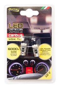 Automobilinių lempučių komplektas BOTTARI 2 PCS T10 CANBUS LED BULB 4SMD 3528 WHITE