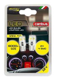Automobilinių lempučių komplektas BOTTARI 2 PCS T10 CANBUS LED BULB 4SMD 5050 WHITE