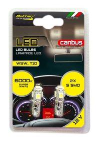Automobilinių lempučių komplektas BOTTARI 2 PCS T10 CANBUS LED BULB 5SMD 5050 WHITE