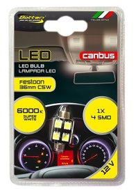 Automobilinių lempučių komplektas BOTTARI FESTOON CANBUS LED BULB T11*36 4SMD 5050