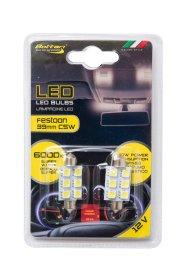 Automobilinių lempučių komplektas BOTTARI 2 PCS FESTOON LED BULB T11*39 6SMD 5050 WHITE