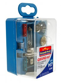 Automobilinių lempučių komplektas GRAND H7, halogeninės su saugikliais