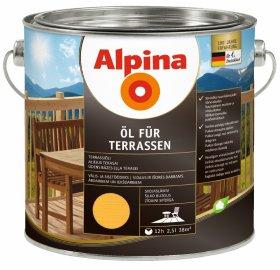 Aliejus medienai ALPINA ÖL FÜR TERRASSEN, 2,5 l, šviesus, vidui ir išorei