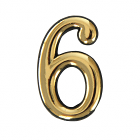 Numeriukas 6   50 - 52 mm Geltonos spalvos, klijuojamas