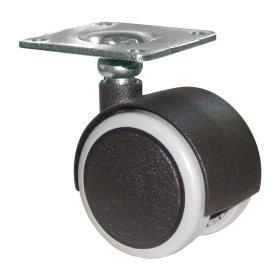 Dvigubas ratukas d-40 mm, juodas, minkštas, apkrova - 30 kg, SV tvirtinimo plokštė, 8 vnt.
