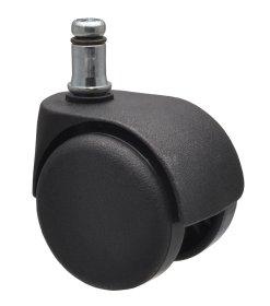 Dvigubas ratukas d-50 mm, plastikinis, juodas, kietas, su stabdžiais, su kaiščiu 11x20 mm.