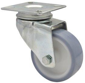Pasukamas ratukas d-60 mm, termoplastiko guma, minkštas, paprastas guolis, apkrova - 50 kg.