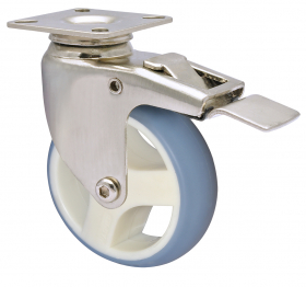 Pasukamas ratukas DESIGN, d-75 mm, termoplastiko guma, su stabdžiu, nerūdijančio plieno, apkrova - 70 kg.