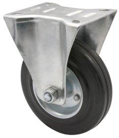 Fiksuotas ratukas d-125 mm, guminis, plieninis, apkrova - 100 kg.