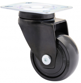 Baldinių ratukų rinkinys d-50 mm, juodas, minkštas, 2 stabdžiai, apkrova - 30 kg, 4 vnt.