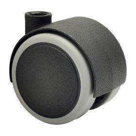 Dvigubas ratukas d-40 mm, juodas, minkštas, apkrova - 35 kg, 2 vnt.