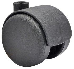 Dvigubas ratukas d-50 mm, plastikinis, juodas, apkrova 50 kg.