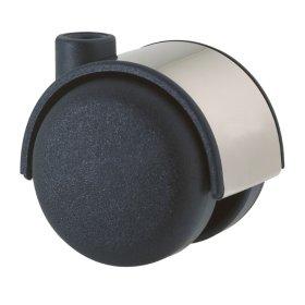 Dvigubas ratukas d-50 mm, plastikinis, chromuotas, apkrova 50 kg.