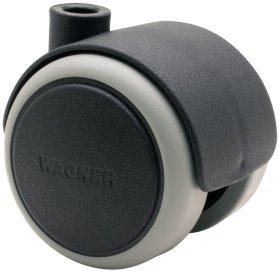 Dvigubas ratukas d-50 mm, plastikinis, minkštas, juodas, apkrova 50 kg.
