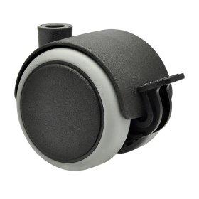 Dvigubas ratukas d-50 mm, plastikinis, minkštas, juodas, su stabdžiais, apkrova 50 kg.