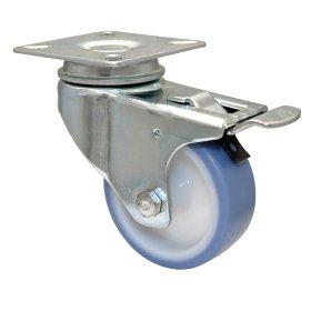 Pasukamas ratukas d-63 mm, termoplastiko guma, minkštas, paprastas guolis, su stabdžiais, apkrova - 50 kg.