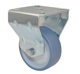Fiksuotas ratukas d-63 mm, termoplastiko guma, minkštas, paprastas guolis, apkrova - 50 kg.