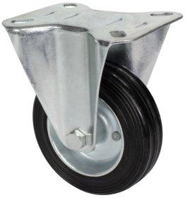 Fiksuotas ratukas d-100 mm, guminis, plieninis, ritininiai guoliai, apkrova - 70 kg.