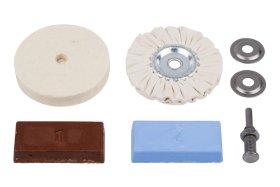Poliravimo rinkinys WOLFCRAFT 2178000 (veltinio, medžiag.diskai, pasta, laikiklis).